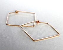 Square hoop earrings . 14K Gold fill . Medium 1.25 inches . Simple Classy Modern