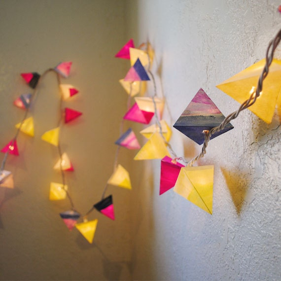Paper Lanterns - MAY - handmade geometric pyramid fairy lights with dip-dye details, magenta, denim, and canary yellow