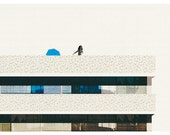 girl in a pool on the top of a building (view three) art print