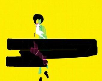 woman walking art print- digital illustration