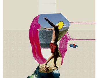 summer collage - art print- mixed media digital collage