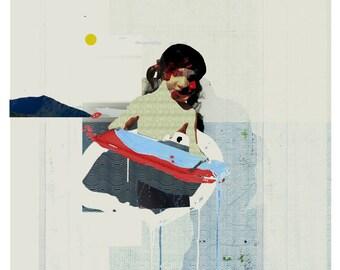summer collage II - art print- mixed media digital collage