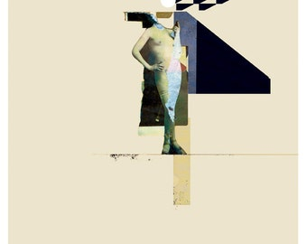 collage with a naked  woman - art print- mixed media digital collage