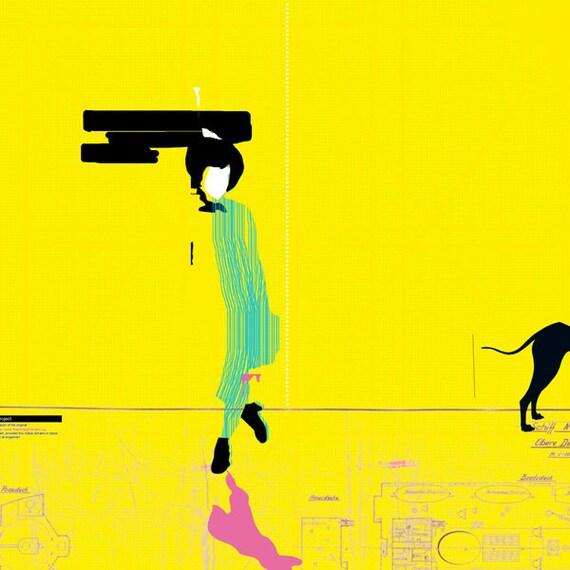 woman walking 2 art print- digital illustration