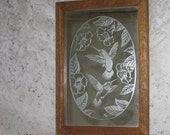 Pretty Mirror with Etched Frosted Humming Birds on it.   10 x 7
