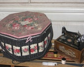 SALE 40 % Off coupon code CLEARINGOUT / Sweet  Black and Pink Rose Sewing Basket with handles.