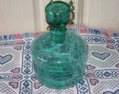 RESERVED Until  FRIDAY  Emerald Green Bottle with lid Nice Aqua Color