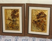 Vintage Pair of Foil Ink Pictures I believe Of House and the Other a Covered Bridge.