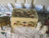 Japanese hand Painted Jewelry box Music Box light Gold Color