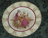 Victorian Couples on Small Plates Marble look and Gold Trim Pretty SET OF 6