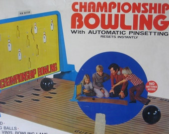 Bowling Game, Championship Bowling, Automatic Pin Setting Board Game, Vintage Board Game, Family Game Night, Party Game, Vintage Toy  :)s