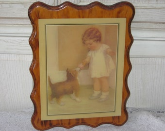 Vintage Home Decor,Girl Picture,Picture,Girl Feeding Puppy  Decoupage/Scalloped Edge:)SALE Coupon Code CLEARINGOUT25 Must use at check