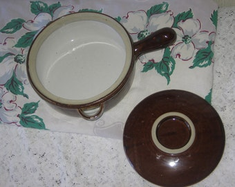 Pottery Brown Dip Ware /Brown Ware  with lid /Gift idea :)Use Coupon Code CLEARINGOUT25 Must Be used at check out can not change after pay