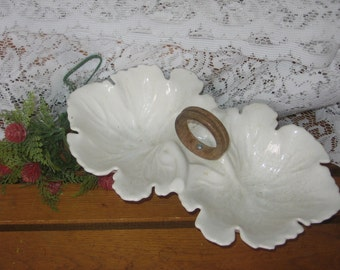 Dip or Candy Small Dish Bowl Shaped Like Leaves Doubled Sides  wood handle Cute :)Use Coupon Code CLEARINGOUT25 Must Be used at check out