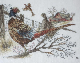 Embroidery Needle Work pictures Pheasants  Beautiful Work /SALE CLEARINGOUT25 must use at check out /:)