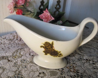 Pottery Gravy Boat with Gold Angel on It Vintage Gravy Boat, Vintage Dishes, vintage pottery, s