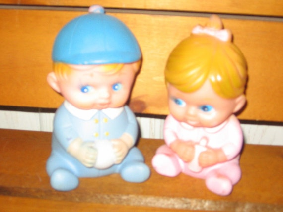 Rubber Little Girl and Boy STAHLWOOD TOYS On marked made in Korea