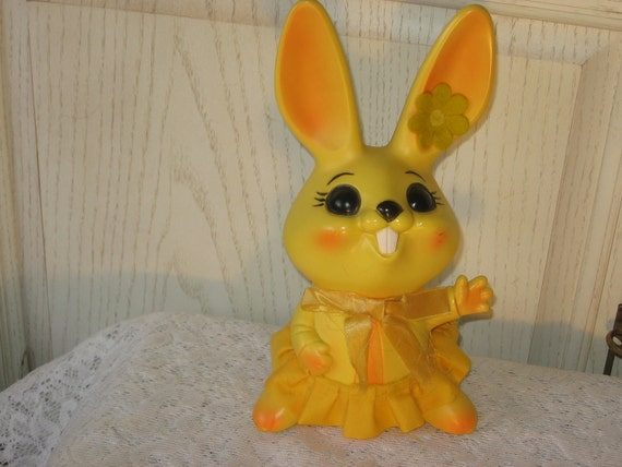 GIRL RABBIT Plastic Piggy Bank Marked Down from 12.00
