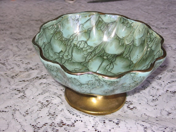 DELFTWARE Bowl,Hand Painted Delftware,Portugal Bowl,With BRASS Accents Made in  PORTUGAL
