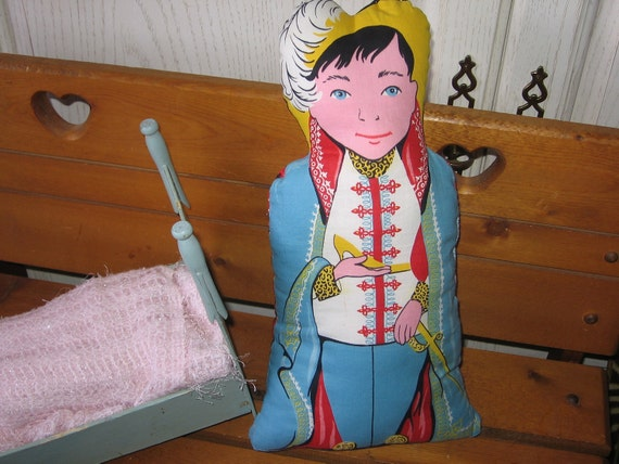 Vintage Cinderella Double Sided Prince on one side and Step Mother on the other side  Pillow
