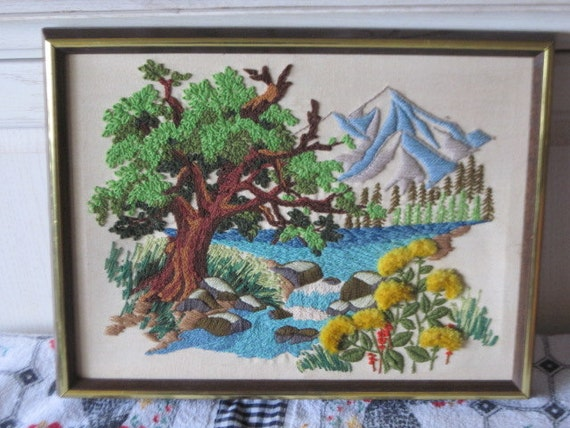 Mountain Scene Crewel Needle Work Very Detailed  Open to Offers