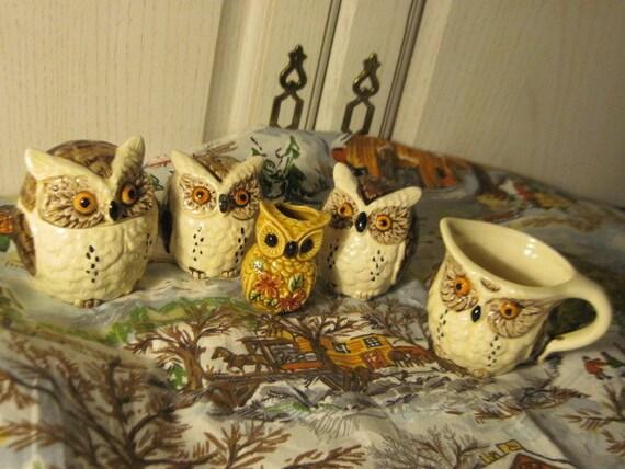1979 ENESCO Owl Creamer,Sugar Bowl, Salt and Pepper Shakers, and Tooth pick Holder Set,Japan