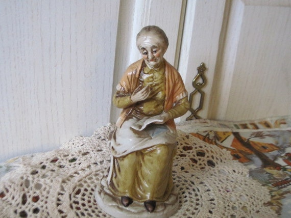 Old Women Sitting Reading Her Card or Letter /SALE Use Coupon Code CLEARINGOUT25 Must Be used at check out can not change after paying