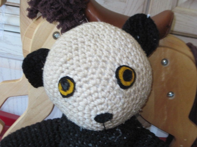 Vintage handmade crocheted panda bear country home decor for Panda bear decor