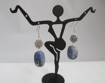 Blue Sodalite and Twisted Wire Ball Earrings