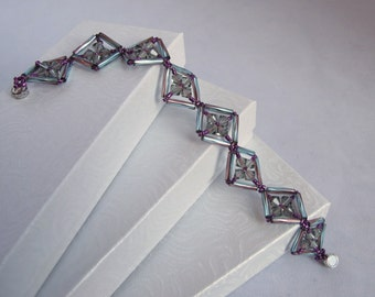 CLEARANCE - Crystal and Bugle Bead Diamonds Bracelet in Smoke, Aqua, and Purple with magnetic clasp