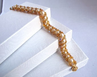 Crystal Pearl Bracelet Wrapped with Gold Beads
