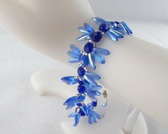CLEARANCE - Cobalt Blue Daisy Petal Fringe Bracelet