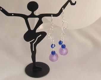 CLEARANCE - Purple Sand Pebbles & Cobalt Blue Sea Glass Earrings on Silver Swirls