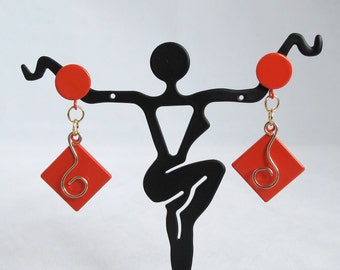 CLEARANCE - Orange Post Earrings with gold squiggle over orange enameled diamonds