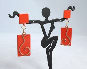 CLEARANCE - Orange Square Posts with Gold Squiggle over Orange Enameled Rectangle