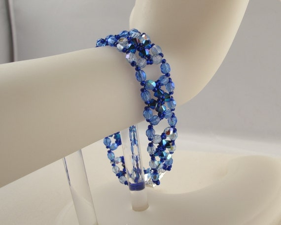 Blue Lace Windows Bracelet with Crystal Crosses