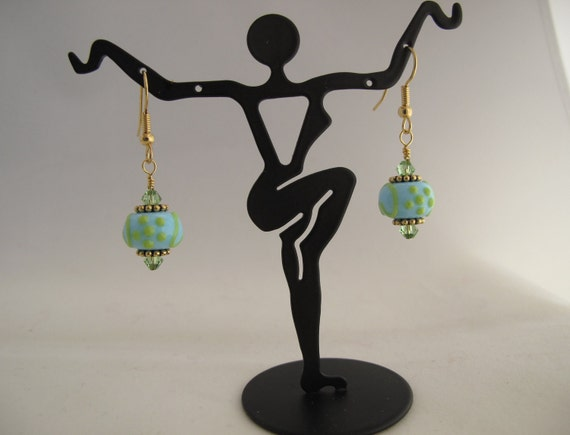 Aqua blue and green lampwork earrings on gold-plated fish hook ear wires