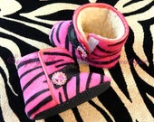 Zebra Hot Pink Baby Boots Crib Shoes - Soft Sole - Baby Boots
