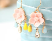 Little Pink Flower Romantic Chandelier Earrings