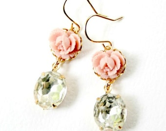 Pink Blush Romantic Rose Crystal Earrings