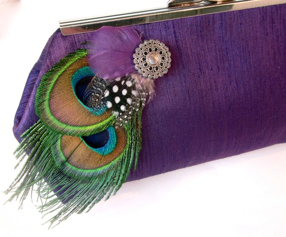 Purple Peacock Themed Feather Bridal Evening Clutch