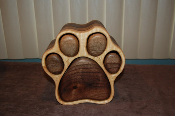 Dog paw print jewelry box- Two sided-Large is shown
