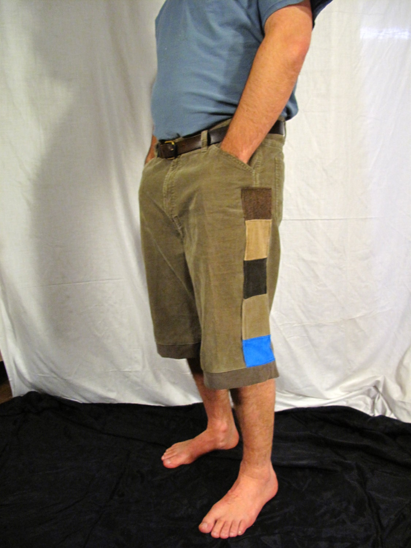 Mens corduroy patch shorts