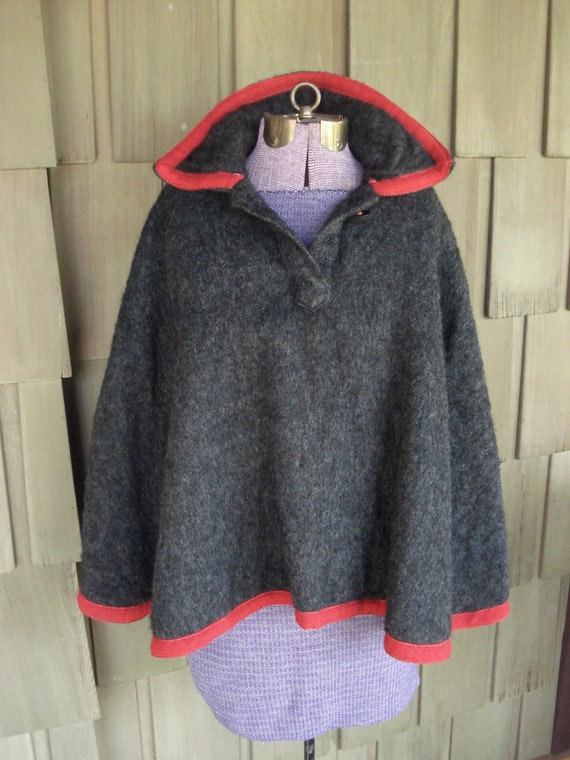 Vintage 60s Collared Wool Poncho Charcoal Grey with Cherry Red Trim