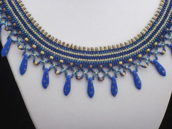 Blue Dagger Beaded Collar