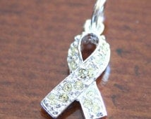 Yellow Awareness Ribbon- Sterling Silver- Bladder Cancer- Deployed Soldiers- Liver Cancer-Liver Disease- Awareness Pendant
