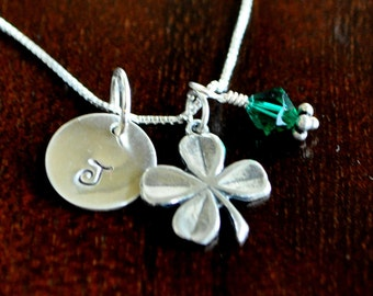 Clover Initial Necklace- Hand Stamped- Sterling Silver- 4 Leaf Pendant- Personalized Gift- Good Luck Irish Gift
