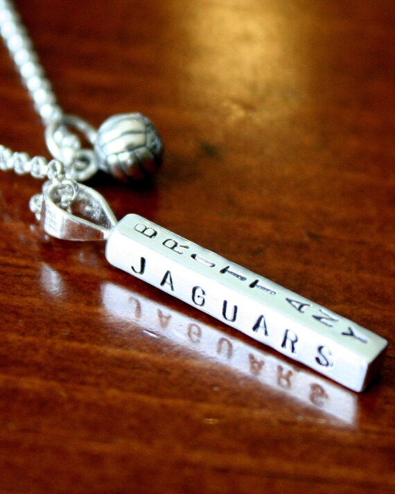 Athletes Necklace - Name Personalized - Volleyball - Soccer Ball - Tennis - Basketball - Softball - Hand Stamped- Sterling Silver - Jewelry