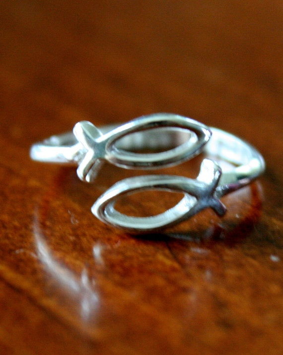Christian Fish Adjustable Ring- Sterling Silver- Jesus Ichthus Fish- Religious Jewelry