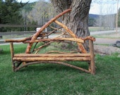 The Mountain Wooing Bench, Rustic Stickwork Love Seat